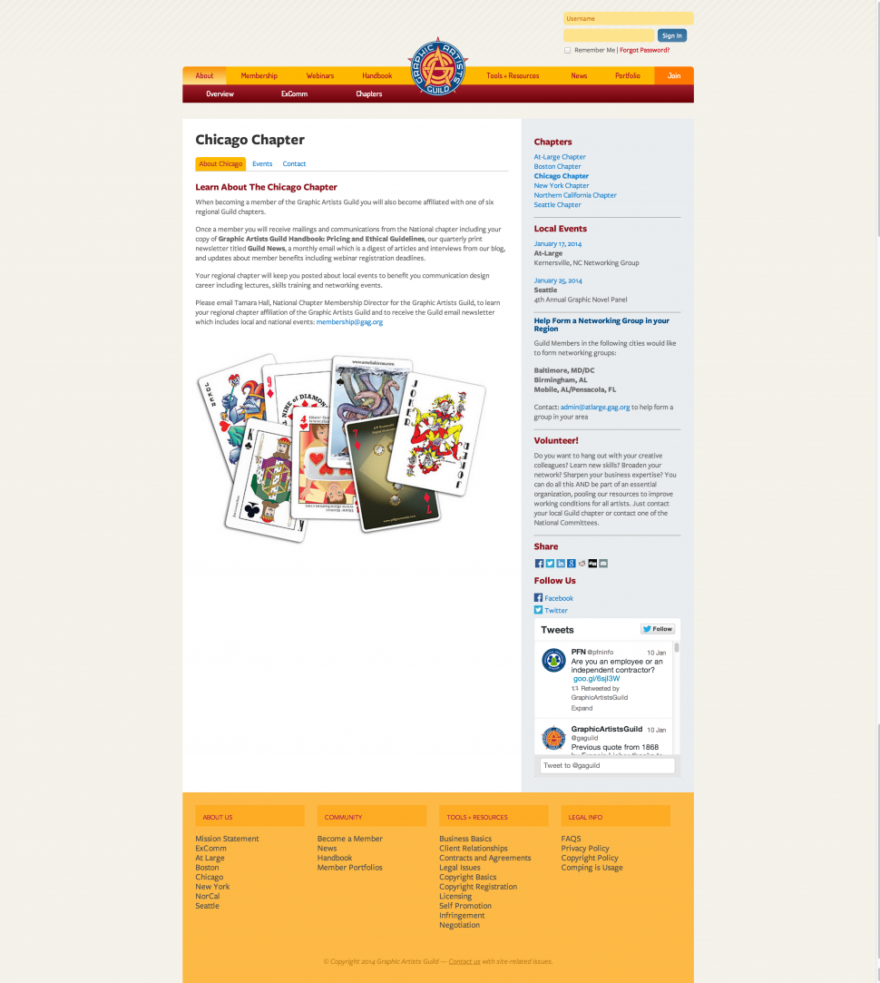 A look at the Chicago chapter homepage