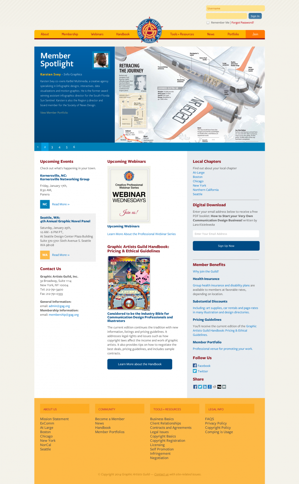 A look at the homepage of the site